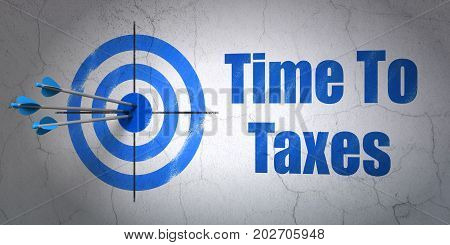 Success business concept: arrows hitting the center of target, Blue Time To Taxes on wall background, 3D rendering