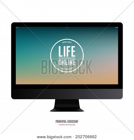 computer monitor black color with color screen isolated on white background. stock vector illustration eps10