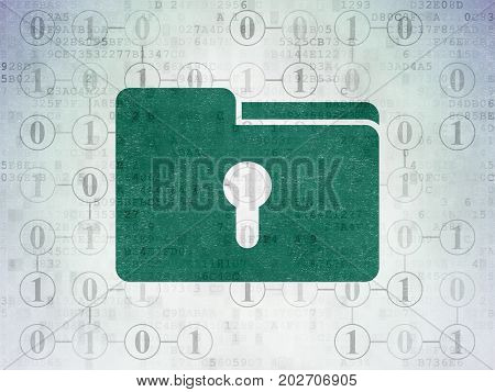 Business concept: Painted green Folder With Keyhole icon on Digital Data Paper background with Scheme Of Binary Code