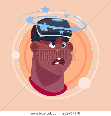 Man Dizzy African American Male Emoji Wearing 3d Virtual Glasses Emotion Icon Avatar Facial Expression Concept Vector Illustration