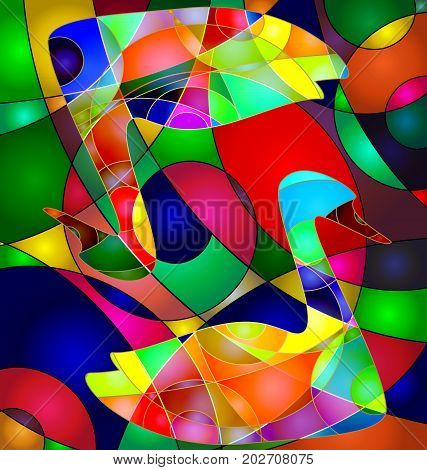 abstract colored background image of couple birds consisting of lines