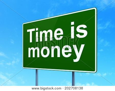 Timeline concept: Time is Money on green road highway sign, clear blue sky background, 3D rendering