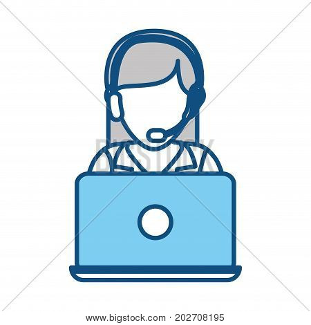 colorful  woman call center over white  background vector illustration