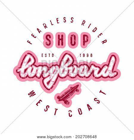 Emblem With Lettering For Longboard Shop