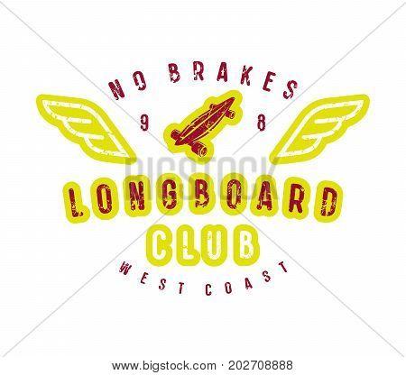 Typographic Emblem Of Longboard Shop