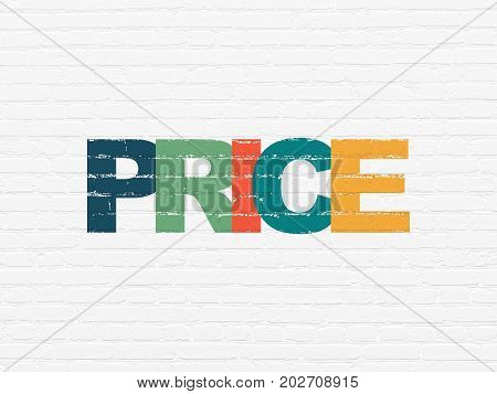 Marketing concept: Painted multicolor text Price on White Brick wall background