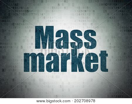Marketing concept: Painted blue word Mass Market on Digital Data Paper background