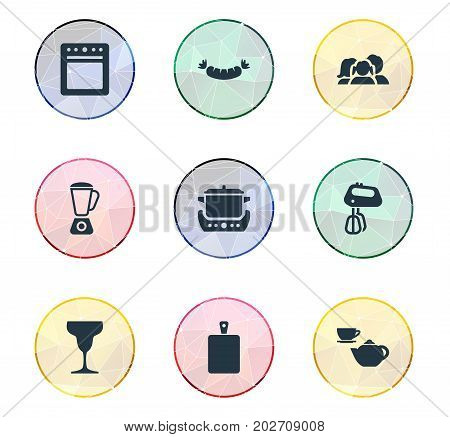 Elements Stir, Stove, Sausage And Other Synonyms Stew-Pot, Chopping And Agitator.  Vector Illustration Set Of Simple Kitchen Icons.