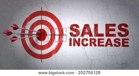Success advertising concept: arrows hitting the center of target, Red Sales Increase on wall background, 3D rendering