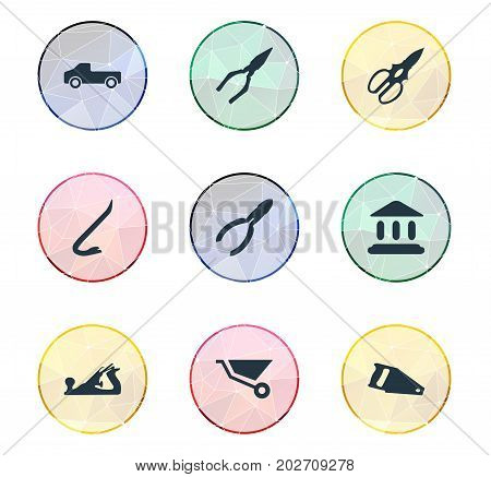 Elements Handsaw, Cart, Transportation Synonyms Transportation, Museum And Equipment.  Vector Illustration Set Of Simple Industrial Icons.