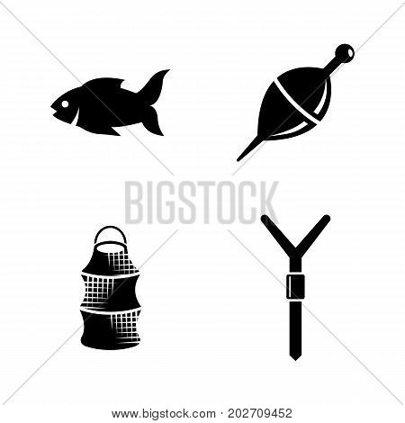 Fishing. Simple Related Vector Icons Set for Video, Mobile Apps, Web Sites, Print Projects and Your Design. Black Flat Illustration on White Background.