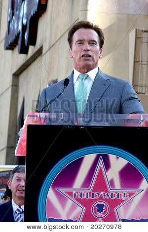 LOS ANGELES - DEC 18:  Arnold Schwarzenegger at the Hollywood Walk of Fame Ceremony for James Cameron at Walk of Fame on December 18, 2009 in Hollywood, CA