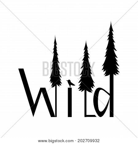 Logo wild image of letters and forests isolated on white background. Wild text