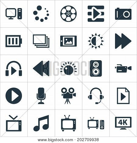 Elements Tripod, Charge, Ultra Display And Other Synonyms Note, Backward And Camera.  Vector Illustration Set Of Simple Multi Icons.