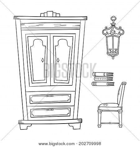 Antique furniture set: closet, lamp, book and chairs isolated on a white background. Vector drawing lines.