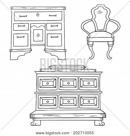 Antiqu furniture set: antique bureau, table, chair isolated on a white background. Vector drawing lines.