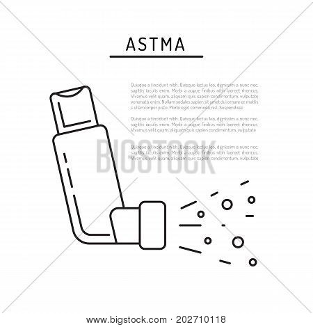 Inhaler of Asthma vector banner template on medical theme with place for text