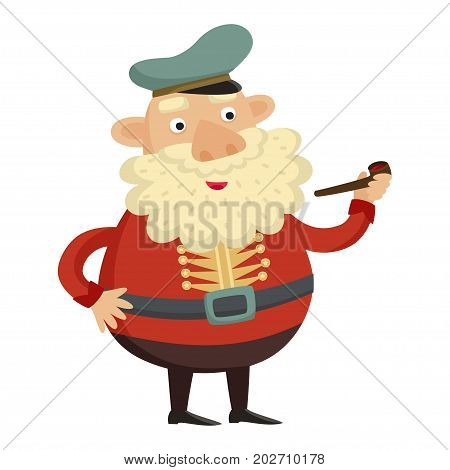 Sea captain with tobacco pipe on a white background. Vector illustration.
