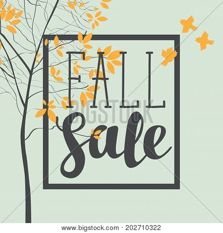 Vector banner with the inscription fall sale. Autumn landscape with autumn leaves on the branches of trees in a Park or forest and sparrows. Can be used for flyers banners or posters.