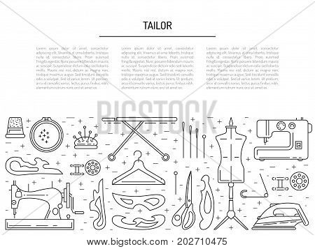 Banner on the theme of needlework and sewing with place for text. Vector linear icons of sewing equipment collected in the template
