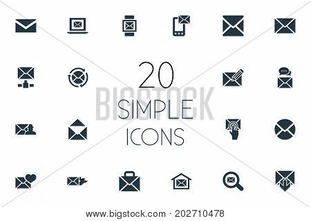 Elements Letter, Inbox, Specter And Other Synonyms Communication, Valentine And Open.  Vector Illustration Set Of Simple Message Icons.