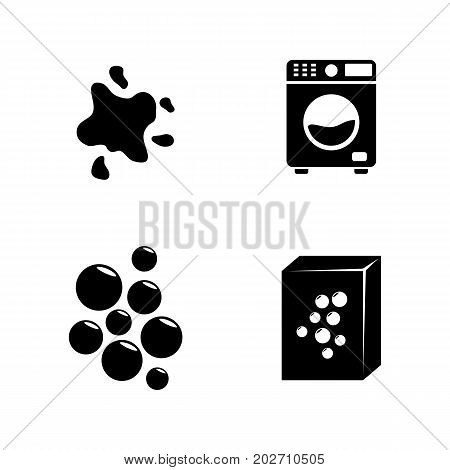 Laundry. Simple Related Vector Icons Set for Video, Mobile Apps, Web Sites, Print Projects and Your Design. Black Flat Illustration on White Background.