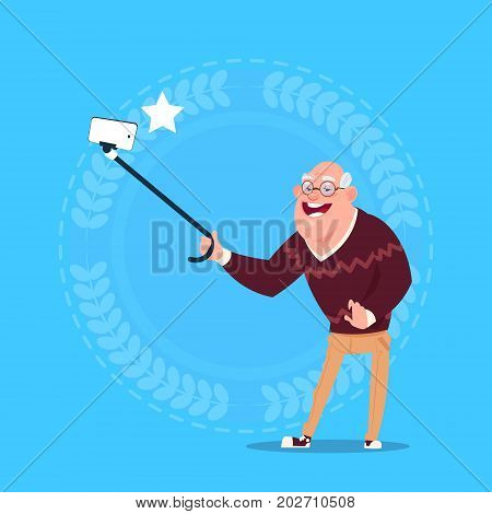Senior Man Taking Selfie Photo With Self Stick Grandfather Full Length Flat Vector Illustration