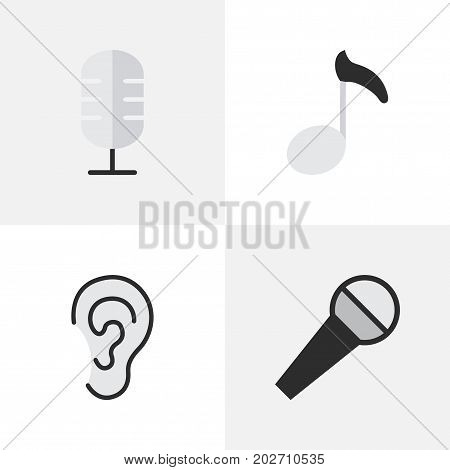 Elements Mike, Microphone, Note And Other Synonyms Make, Mike And Microphone.  Vector Illustration Set Of Simple  Icons.