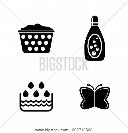 Wash. Simple Related Vector Icons Set for Video, Mobile Apps, Web Sites, Print Projects and Your Design. Black Flat Illustration on White Background.