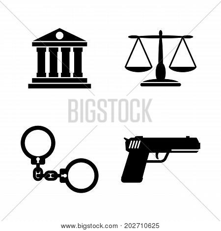 Law Justice. Simple Related Vector Icons Set for Video, Mobile Apps, Web Sites, Print Projects and Your Design. Black Flat Illustration on White Background.