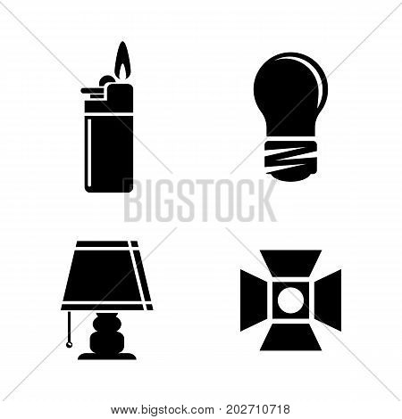 Light Source. Simple Related Vector Icons Set for Video, Mobile Apps, Web Sites, Print Projects and Your Design. Black Flat Illustration on White Background.