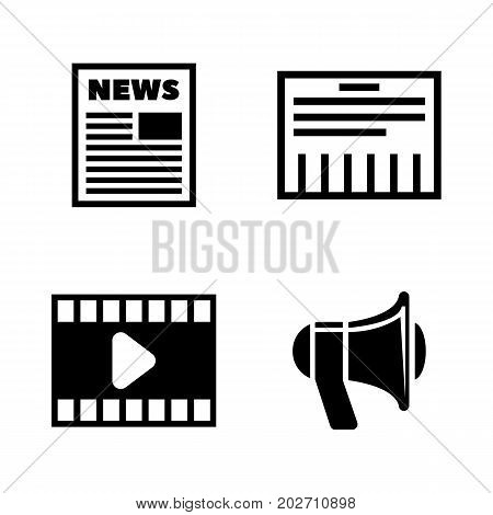 Media. Simple Related Vector Icons Set for Video, Mobile Apps, Web Sites, Print Projects and Your Design. Black Flat Illustration on White Background.