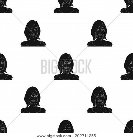 The face of a woman with a hairdo. Face and appearance single icon in black style vector symbol stock illustration .