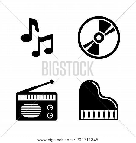 Music. Simple Related Vector Icons Set for Video, Mobile Apps, Web Sites, Print Projects and Your Design. Black Flat Illustration on White Background.