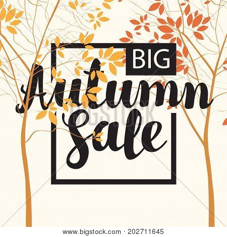 Vector banner with the inscription Autumn sale. Autumn landscape with autumn leaves on the branches of trees in a Park or forest. Can be used for flyers banners or posters.