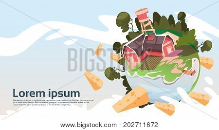 Abstract Farm With House, Farmland Countryside Landscape Banner Flat Vector Illustration