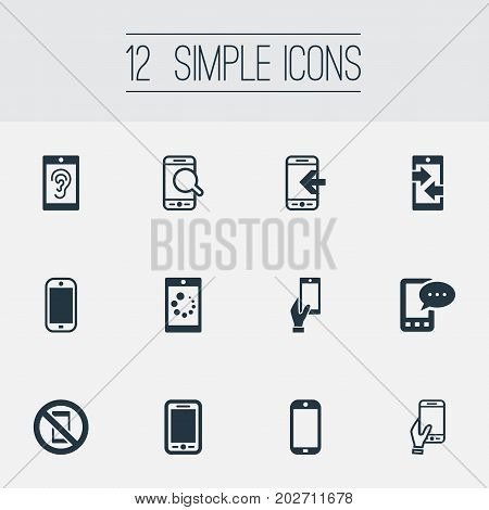 Elements Hearing, Gadget, Inbounding And Other Synonyms Inbounding, Mobile And Incoming.  Vector Illustration Set Of Simple Smartphone Icons.