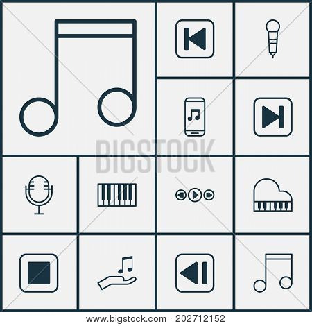 Music Icons Set. Collection Of Stop Button, Audio Mobile, Octave And Other Elements