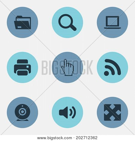 Elements Wave, Pointer, Magnifier And Other Synonyms Enlarge, Click And Folder.  Vector Illustration Set Of Simple Device Icons.