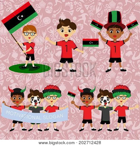 Set of boys with national flags of Libya. Blanks for the day of the flag independence nation day and other public holidays. The guys in sports form with the attributes of the football team