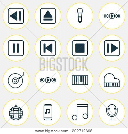 Multimedia Icons Set. Collection Of Octave, Last Song, Dance Club And Other Elements