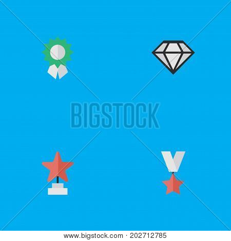 Elements Star, Reward, Trophy And Other Synonyms First, Precious And Trophy.  Vector Illustration Set Of Simple Awards Icons.