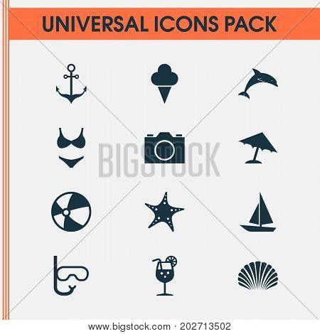 Season Icons Set. Collection Of Goggles, Balloon, Lemonade And Other Elements