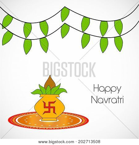 illustration of kalash in hinduism symbol swastik and decoration with Happy Navratri text on the occasion of hindu festival Navratri