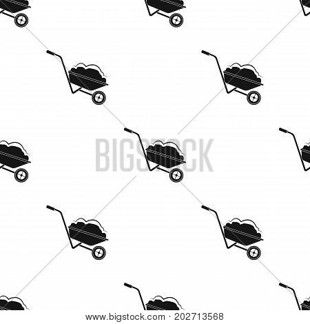 Wheelbarrow, single icon in black style.Wheelbarrow vector symbol stock illustration .