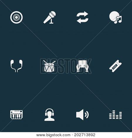 Elements Again, Headphones, Dj And Other Synonyms Piano, Headphone And Coupon.  Vector Illustration Set Of Simple Music Icons.