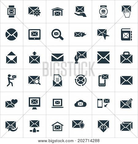 Elements Post Office, Mailman, Ingoing And Other Synonyms Compose, Web And Mail.  Vector Illustration Set Of Simple Mailing Icons.