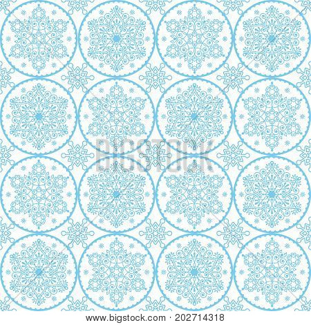 Christmas vector folk art pattern - blue snowflakes seamless design, Scandinavian style Xmas wrapping paper or textile