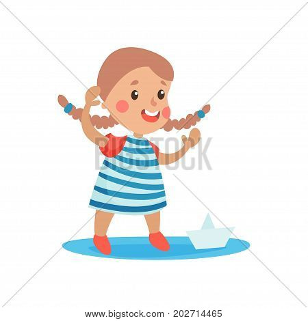 Cute little girl in sailors costume playing with paper boat, kid dreaming of becoming a sailor vector Illustration on a white background