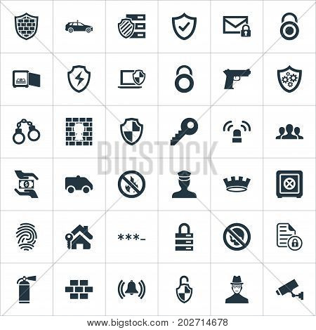 Elements Safety, Penitentiary, Approve And Other Synonyms Unity, Locker And Cop.  Vector Illustration Set Of Simple Safety Icons.